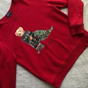 Polo Ralph Lauren Kids Holiday Bear Christmas Tree Fleece Sweatshirt Large Sz L